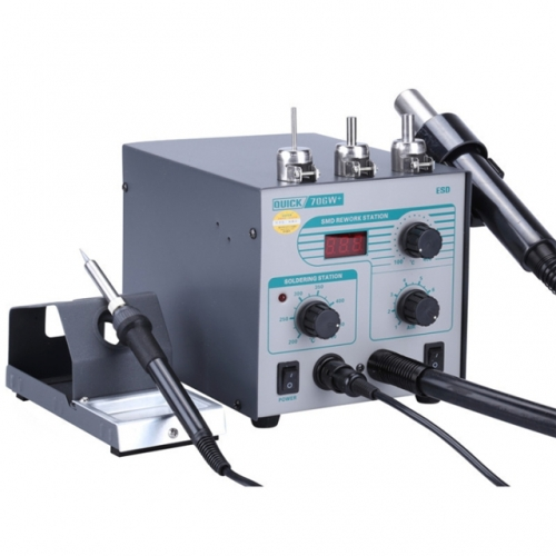 QUICK 706W+ 2 in 1  220V 50W Digital Display Hot Air Gun Anti-static Constant Temperature Lead-free Desoldering Station