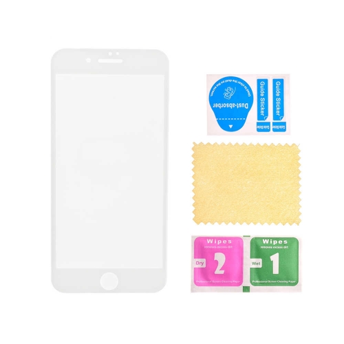 3D Tempered Glass with Wipes for Apple iPhone 6/6S - White