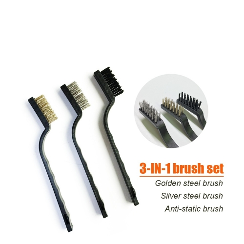 3 IN 1 Steel Anti-static Brush mobile phone motherboard clening repair tool