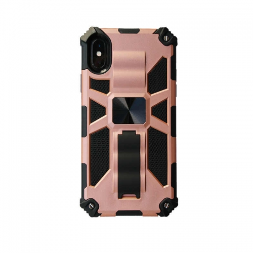 Shockproof Protective Phone Case With Kickstand For iPhone XR Rose Gold