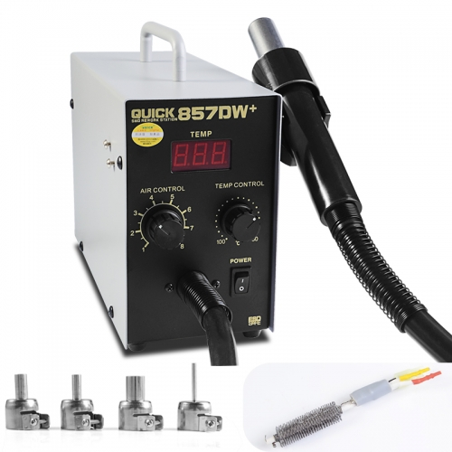 QUICK 857DW+ Soldering Station Hot Air Gun Station with Heater Helical Wind Air Gun SMD Hot Rework Station