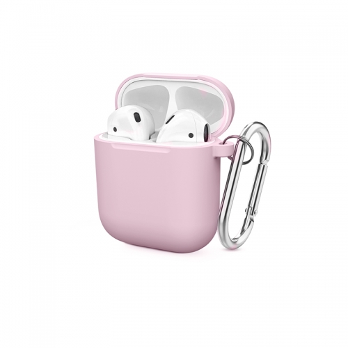 Soft Silicone Shock-Absorbing Protective Case with Keychain for Airpods - Pink-AAA