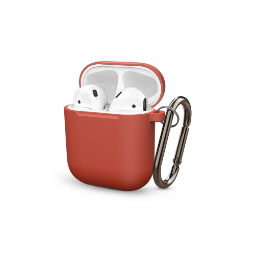 Soft Silicone Shock-Absorbing Protective Case with Keychain for Airpods - Red-AAA