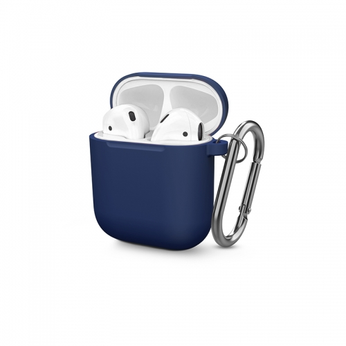 Soft Silicone Shock-Absorbing Protective Case With Keychain for Airpods - Cobalt Blue-AAA