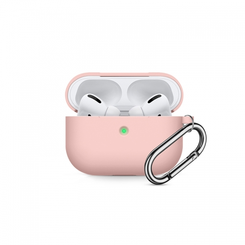 Soft Silicone Shock-Absorbing Protective Case with Keychain for Airpods Pro - Pink-AAA