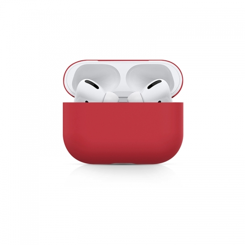 Ultra-thin Liquid Silicone Protective Airpods Pro Case - Red-AAA
