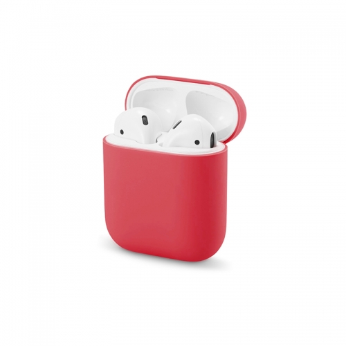 Ultra-thin Liquid Silicone Protective Airpods Case - Red-AAA