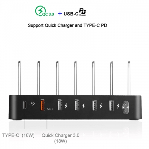 45W Quick Charge 3.0 Smart USB PD 3A Charger Station 6-USB Fast Charging Phone Tablet USB Charger For iPhone Samsung