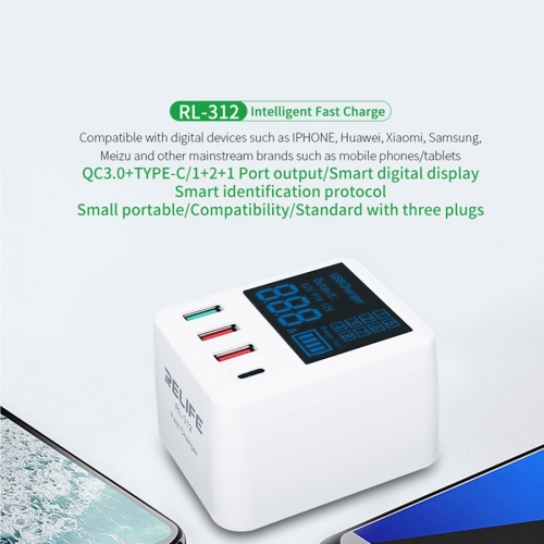 RELIFE RL-312 Portable Intelligent mini QC3.0 Charger Cargador with USB Output digital display and AU EU UK Conversion Plug