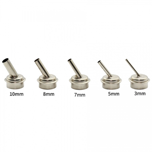 3/5/7/8/10mm Hot air Gun Nozzles 45 Degree Bent Curved Heat Nozzles Durable Parts for QUICK 861DW Soldering Station