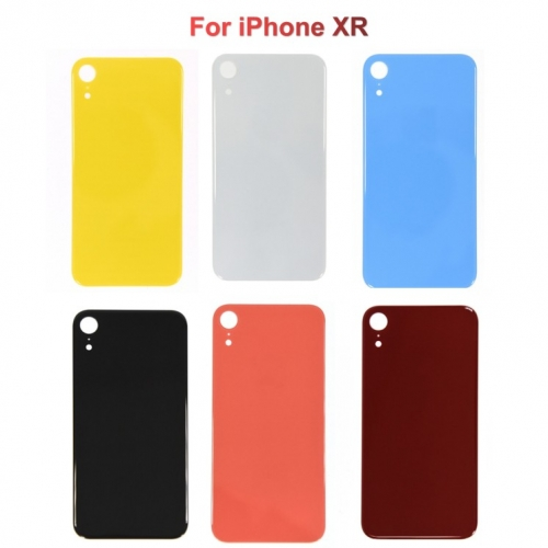 Back Glass Cover With Big Camera Hole Replacement For Apple iPhone XR - Black/White/Blue/Yellow/Red/Coral - AA