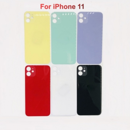 Back Glass Cover With Big Camera Hole Replacement For Apple iPhone 11 - Black/White/Green/Yellow/Purple/Red - AA