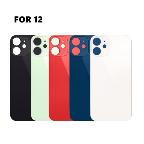 Back Glass Cover With Big Camera Hole Replacement For Apple iPhone 12 - Black/White/Red/Green/Blue - AA