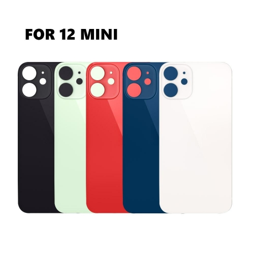 Back Glass Cover With Big Camera Hole Replacement For Apple iPhone 12 Mini - Black/White/Red/Green/Blue - AA