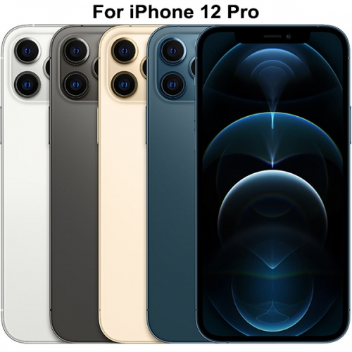 Back Glass Cover With Big Camera Hole Replacement For Apple iPhone 12 Pro - Silver/Graphite/Gold/Pacific Blue - AA