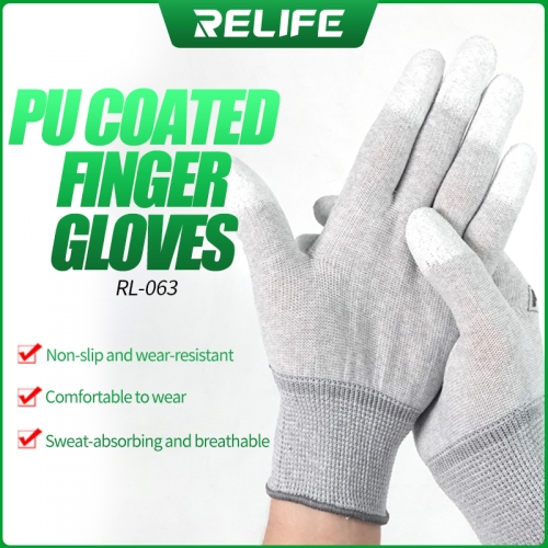 RELIFE RL-063  Anti static Gloves Electronic Working Gloves Phone Repair Tools PU Palm Coated Finger for Finger Protector Gloves