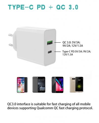 QC 3.0 Quick Charger Type C PD USB Wall Charger For iPhone 12 Fast Charge EU Plug Travel Adapter