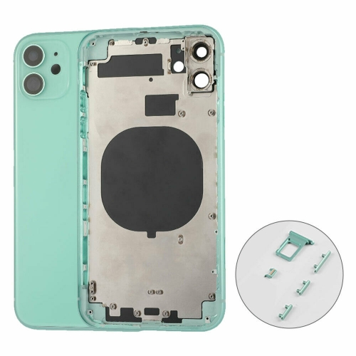 For iPhone 11 Back Housing Battery Cover with Frame Assembly Replacement - Black/White/Green/Yellow/Purple/Red - AA