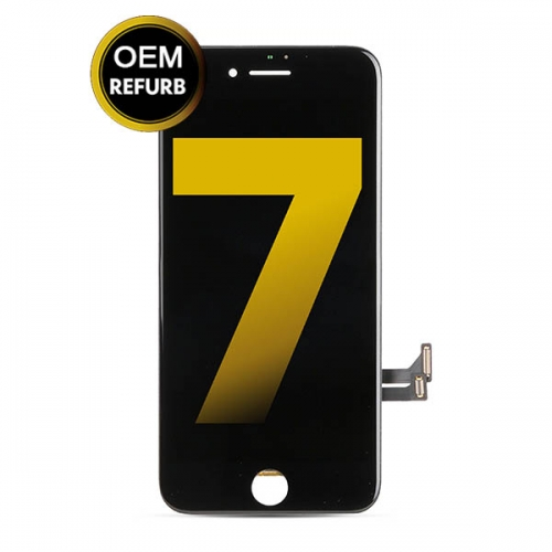 LCD Display and Touch Screen Digitizer Assembly With Frame Replacement For Apple iPhone 7 - Black - OEM Refurb