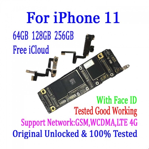 100% Original Unlocked Motherboard for iPhone 11 with Full Chips Good Working Mainboard with / without Face ID