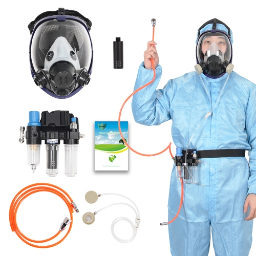 3 in 1 Function Supplied Air Fed Respirator System & Full Face Gas Mask, Breathe Easily, Don't Need Cartridge, Mask Included