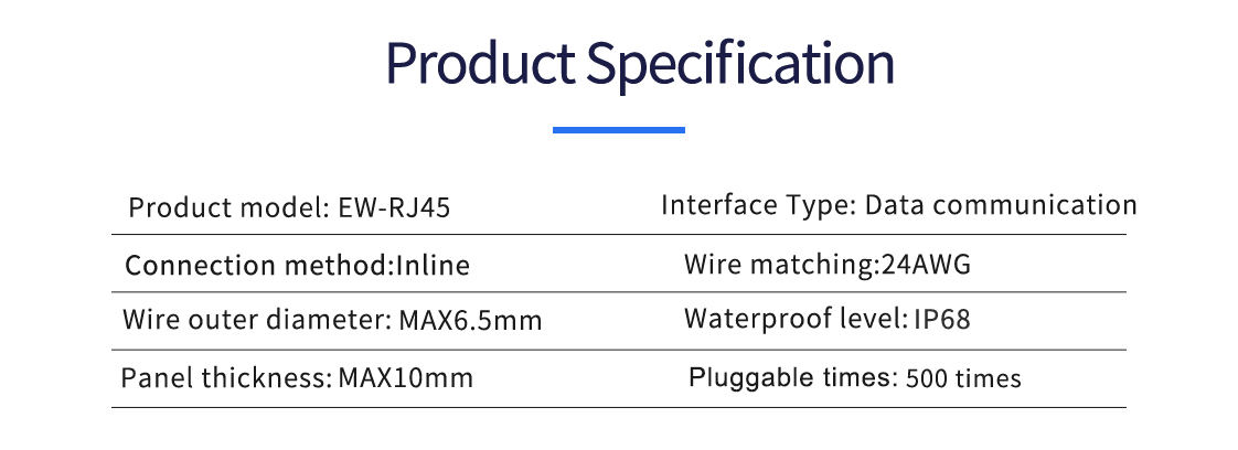 Waterproof RJ45 Connector parameter