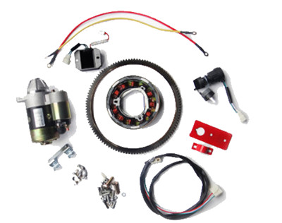 Electric Start Rebuild Kit Incl. Starter,Gear Ring, Regulator etc. Fits for China Model 188F 190F 11HP Small Air Cooled Diesel Engine