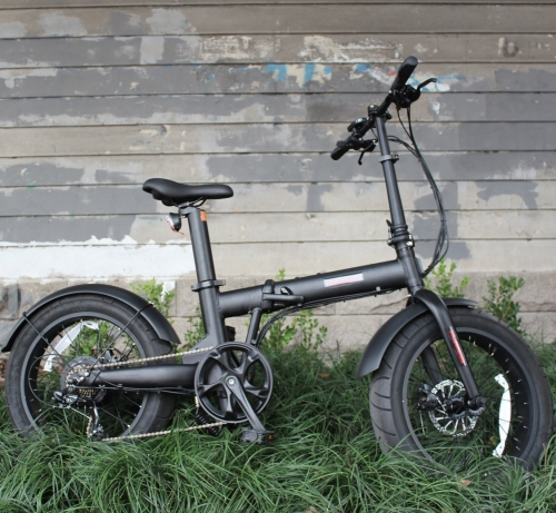 "36V 250W  20x4.0"" Fat Wheel Folding eBike with Seatpost Built-in Battery"