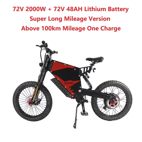 EU/USA Duty Free RisunMotor 72V 2000W 45A FC-1 Stealth Bomber eBike Electric Bicycle With Bicycle or Motorcycle Seat