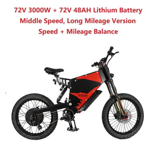 EU/USA Duty Free RisunMotor 72V 3000W 60A FC-1 Stealth Bomber eBike Electric Bicycle With Bicycle or Motorcycle Seat