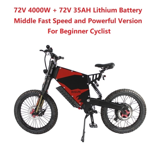 EU/USA Duty Free RisunMotor 72V 4000W 80A FC-1 Stealth Bomber eBike Electric Bicycle With Bicycle or Motorcycle Seat