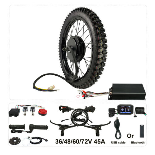 48V-72V 21inch 3000W-5000W eBike Conversion Kits rear wheel sabvoton 100A controller with front wheel