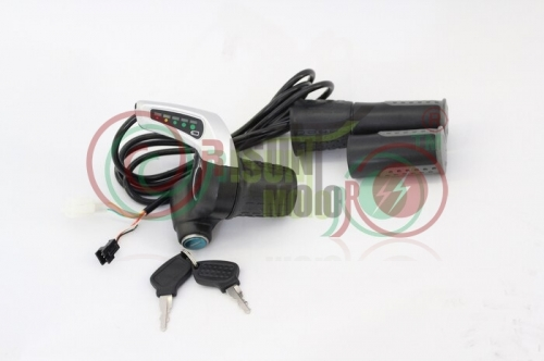 24V 36V 48V eBike Half-Bar Twist Throttle with Electric Lock Key Power Indicator