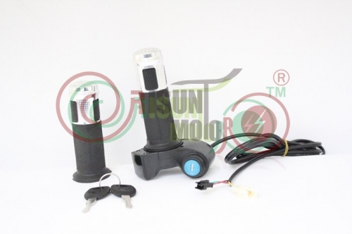 12V-90V Universal Voltage eBike Twist Throttle with Led Display Electric Lock Key