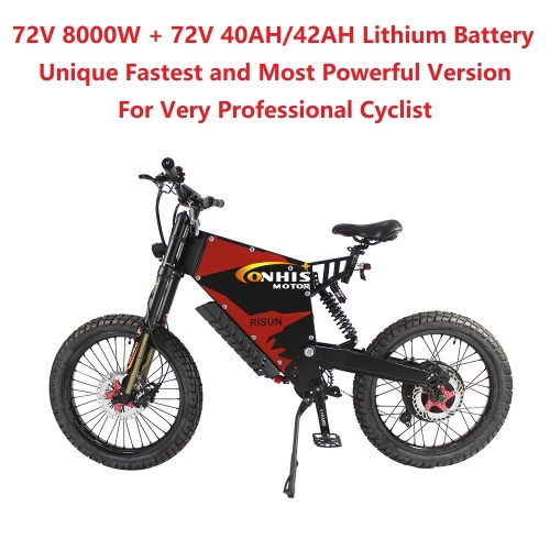 EU/USA Duty Free ConhisMotor Unique 72V 8000W 150A FC-1 Stealth Bomber eBike Electric Bicycle With Bicycle or Motorcycle Seat