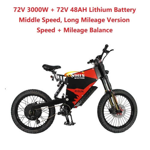 EU/USA Duty Free ConhisMotor 72V 3000W 60A FC-1 Stealth Bomber eBike Electric Bicycle With Bicycle or Motorcycle Seat