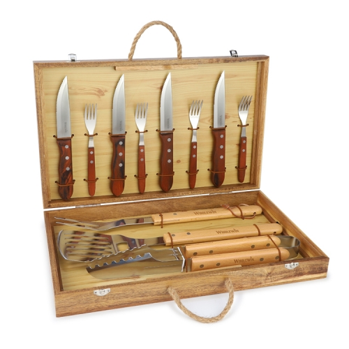 Wooden Case Barbecue Tools Set