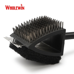 Popular 3 in 1 BBQ Grill Brush Long Handle Stainless Steel Barbecue Grill Oven Cleaning Brush