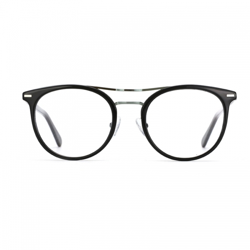 Acetate Double Bridge Glasses Frames Clear lens Optical Myopia Eyewear Round Spectacle Frames Prescription Eyeglasses