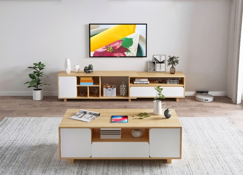 Living Room Bedroom with Simple Telescopic TV Cabinet, Simple Modern TV Stand
