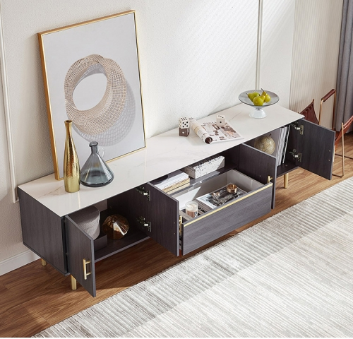 Modern Simple Light Luxury Style Living Room TV Cabinet Tea Table Combination Furniture TV Stand