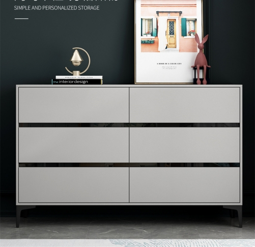 Simple Bedroom Living Room Nordic Gray Storage Cabinet Cabinet Cabinet Six-Bin