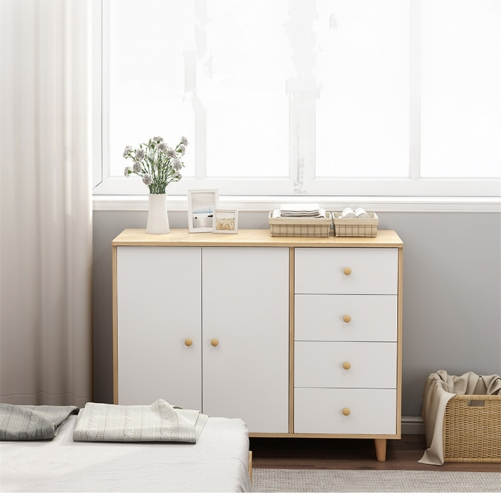 Nordic bedroom cabinet of drawers storage cabinet solid wooden leg storage cabinet simple modern combination storage cabinet