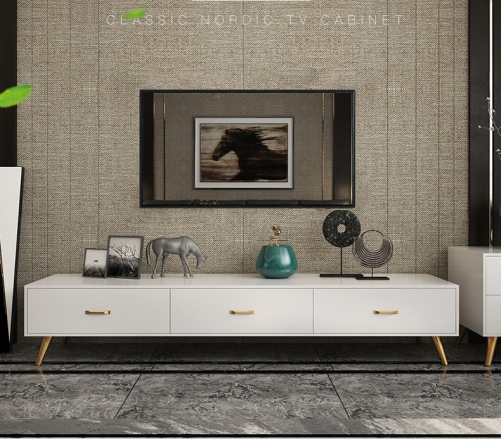 Nordic TV Cabinet Tea Table Combination Set Modern Simple Living Room White Modern TV Cabinet/TV Stand