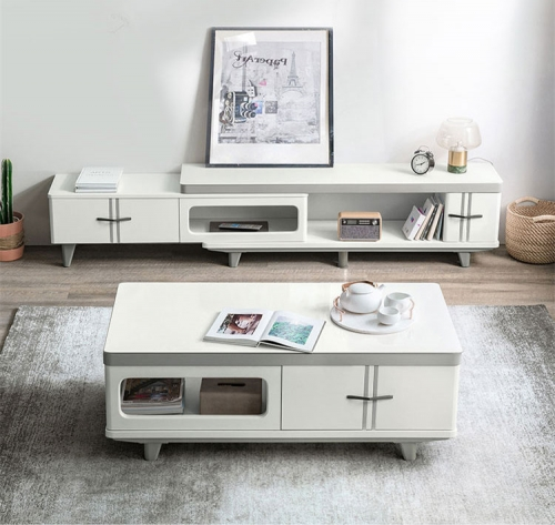 Simple Modern TV Cabinet Tea Table Combination Retractable Living Room Glass White TV Cabinet/TV Stand
