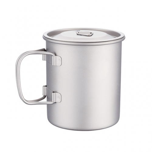 Titanium Cup Camping Mug Foldable Handles for Outdoor Backpacking