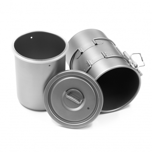 Titanium Cooker with Bail Handle Outdoor Ultralight Titanium Cookware