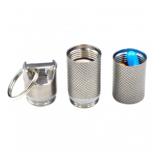 2 Compartment Customizable Pill Holder Waterproof Titanium Pill Container for Travel Outdoor