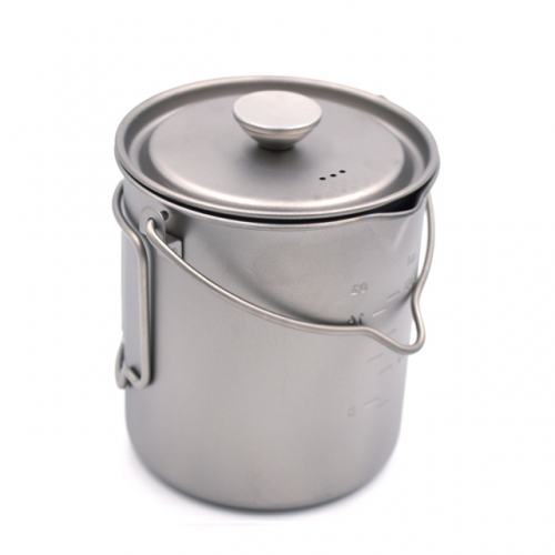 French Coffee Mug 750ml Single Wall Titanium Mug with Stainless Steel Filter for Outdoor Camping