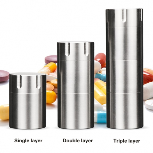 Titanium easy carry metal Layered emergency tablet box vitamin pill bottle